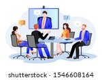 business team at the video... | Shutterstock .eps vector #1546608164