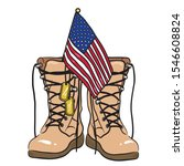 Old military combat boots with soldier tags and a small American flag. Illustration on Memorial Day or Veterans Day.