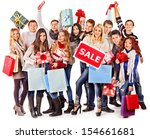 group people with board sale...   Shutterstock . vector #154661681