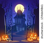 spooky old ghost house.... | Shutterstock .eps vector #154664861