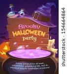 witch crafting pot. halloween... | Shutterstock .eps vector #154664864