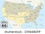 route 66 map | Shutterstock .eps vector #154668659