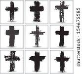 grunge cross  | Shutterstock .eps vector #154673585