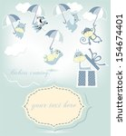 baby shower card with cute... | Shutterstock .eps vector #154674401