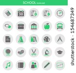 icons set about school. flat...