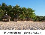 evening light beach huts at... | Shutterstock . vector #1546876634