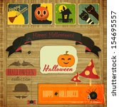 retro halloween card in vintage ... | Shutterstock . vector #154695557