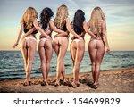 sexy backs of five beautiful... | Shutterstock . vector #154699829
