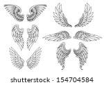 heraldic wings set for tattoo...