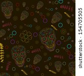 pattern with sugar skulls and... | Shutterstock .eps vector #154705505