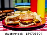 cookout with cheeseburger  hot... | Shutterstock . vector #154709804
