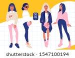 young women vector set. stylish ... | Shutterstock .eps vector #1547100194
