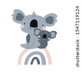cute koala mom baby on rainbow... | Shutterstock .eps vector #1547119124