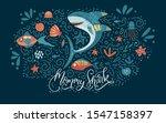 cartoon vector shark... | Shutterstock .eps vector #1547158397