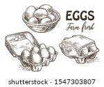 chicken farm fresh eggs. vector ... | Shutterstock .eps vector #1547303807