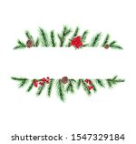 watercolor christmas frame with ... | Shutterstock . vector #1547329184