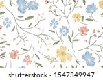 seamless cute floral vector... | Shutterstock .eps vector #1547349947