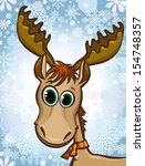 cartoon happy elk on a winter... | Shutterstock .eps vector #154748357