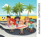 cartoon children on copacabana... | Shutterstock .eps vector #1547501051