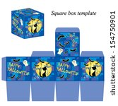 halloween box template with... | Shutterstock .eps vector #154750901