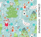 seamless with santa claus and... | Shutterstock .eps vector #154754615