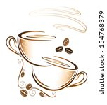 colorful coffee cup with coffee ... | Shutterstock .eps vector #154768379
