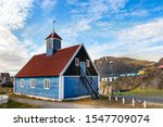 Rear view of the Bethel Blue church 1775 located in Sisimiut, Greenland.
