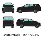 set of black suv car view on... | Shutterstock .eps vector #1547722547