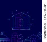 bank vector gradient line icon  ...