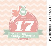 baby shower design over pink... | Shutterstock .eps vector #154787759