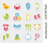 baby icons over blue background ... | Shutterstock .eps vector #154787969