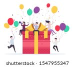 joyful people popping up near a ... | Shutterstock .eps vector #1547955347