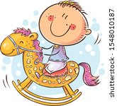 little child riding a toy horse ... | Shutterstock .eps vector #1548010187