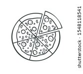 pizza icon outlined linear ... | Shutterstock .eps vector #1548118541