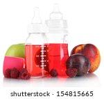 fruits and baby bottles with... | Shutterstock . vector #154815665