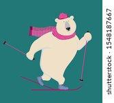 Polar Bear On A Ski Track. ...