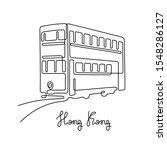 hong kong tram. continuous line ... | Shutterstock .eps vector #1548286127