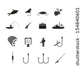 fishing icons set | Shutterstock .eps vector #154840601