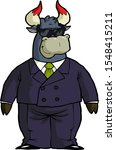 cartoon financial bull in... | Shutterstock .eps vector #1548415211