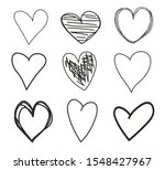 grunge hearts on isolated white ... | Shutterstock .eps vector #1548427967