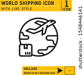 world shipping icon with line...