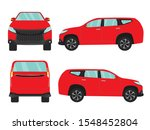 set of red suv car view on... | Shutterstock .eps vector #1548452804
