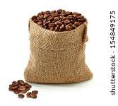 Coffee Beans In Burlap Bag On...