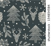 holiday hand drawn pattern | Shutterstock .eps vector #154854584