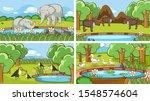 background scenes of animals in ... | Shutterstock .eps vector #1548574604