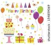 set of vector birthday party... | Shutterstock .eps vector #154859069