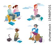 boys and girls sitting with... | Shutterstock .eps vector #154869101