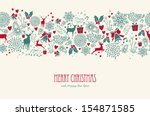 Vintage Christmas elements, reindeer with text seamless pattern background. EPS10 vector file organized in layers for easy editing. | Shutterstock vector #154871585