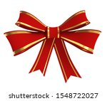 red ribbon bow with golden... | Shutterstock . vector #1548722027