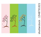 four seasonal  wiht tree vector | Shutterstock .eps vector #1548731321